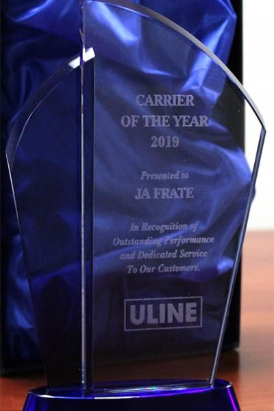 Illinois Freight Carrier JA Frate receives Uline Performance Award